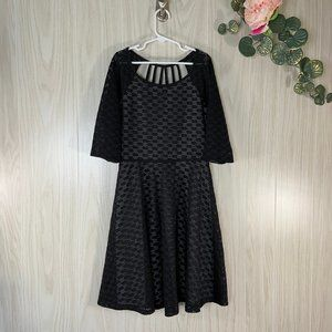 Girls Speechless Black Pointelle Knit Dress 14